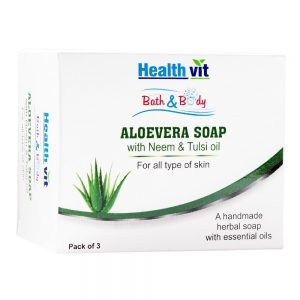 Amazon - Buy Healthvit Bath & Body Aloevera Soap With Neem & Tulsi Oil 75g - Pack of 3 inJust Rs 99