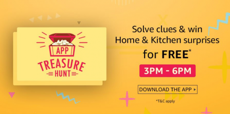(Answer Added) Amazon App Treasure Hunt - Solve Clues and win products 28th - 29th Sept