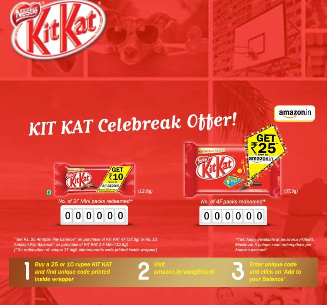 Amazon Kitkat Offer - Free Rs 25 and Rs 10 Amazon Vouchers from kitkat