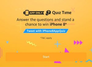 (Answer Added)Amazon Quiz Time - Answer & Win iPhone 8