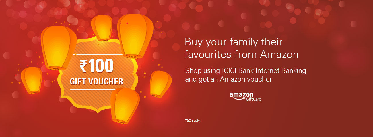 Free Amazon Voucher On first transaction with ICICI internet Banking