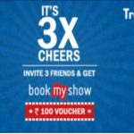 TravelUR Offer - Refer 3 Friends and Get Free Rs 100 Bookmyshow Voucher