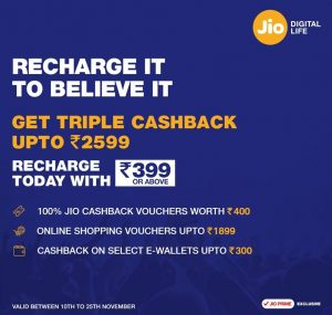 (*Proof Added*)Jio Triple Cashback Offer - Get Cashback Upto Rs.2599 Free on Recharge of Jio Rs 399 Plan