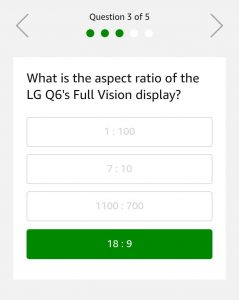 (15th November Answers) Amazon LG Q6 Quiz – Answer & Win LG Q6