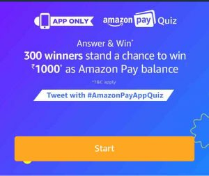 (24th November Answers) Amazon pay Quiz – Answer & Win Rs.1000 Amazon Pay Balance