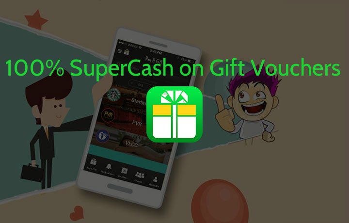 Boom A Gift App - Get 100% Supercash on eGift Vouchers with Mobikwik