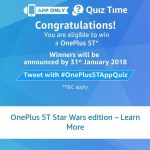 (8th December Answers) Amazon One Plus 5t Quiz – Answer & Win OnePlus 5T Star Wars Limited Edition