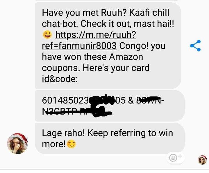 (Proof Added)Ruuh Messenger Chat - Get Rs.50 Amazon Voucher on Referring 4 friends