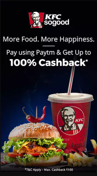 Paytm Pizza hut Offer - Get Up to 100% Cashback when you pay with Paytm in KFC and Pizzhut