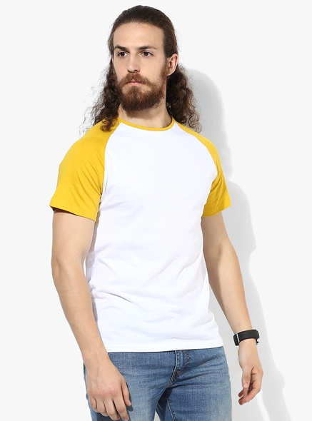 Jabong - Buy White Solid Slim Fit Round Neck T-Shirt in Rs.125