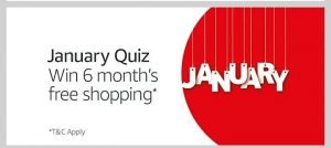 (All Answers)Amazon January Quiz - Answer and Win 6 Month's Free Shopping