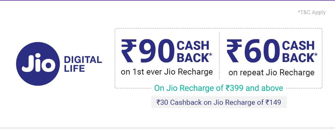 PhonePe Jio Offer - Get Rs.90 Cashback on Jio Recharge