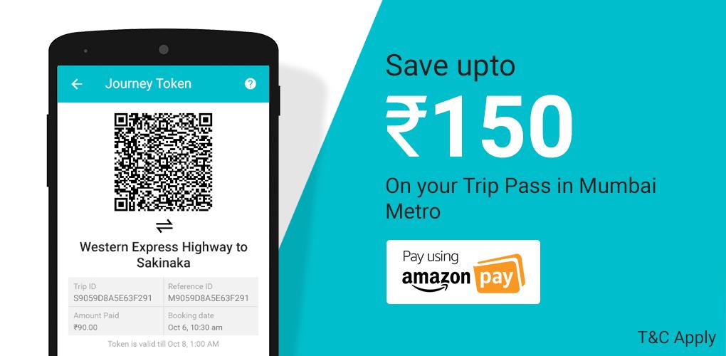Amazon Ridlr Offer - Get up to Rs.150 Cashback in Mumbai Metro Rechar