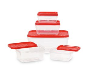 Amazon - Buy All Time Plastics Polka Container Set, 5-Pieces, Red from Rs.77