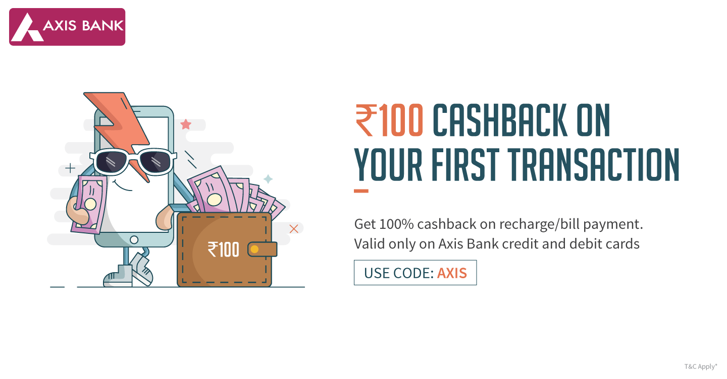 FreeCharge Axis Bank Offer - Get 100% Cashback on Recharge Through Axis Bank
