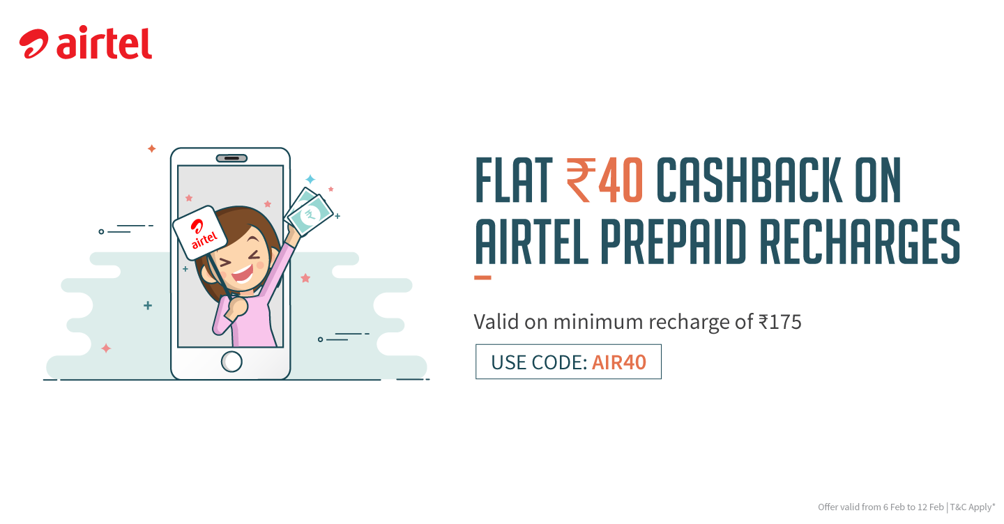 Airtel Freecharge Offer - Get Rs.40 Cashback on Airtel Recharge