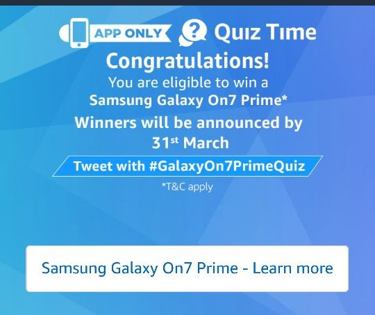 (All Answers)Amazon Samsung Galaxy On7 Prime Quiz Answers