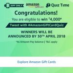 (All Answers)Amazon Gift Card Quiz – Answer & win Rs.4000