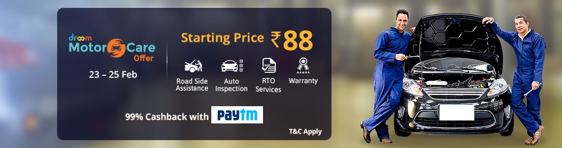 Droom Motor Care Offer - Starting from Rs.88 and 99% Cashback with Paytm