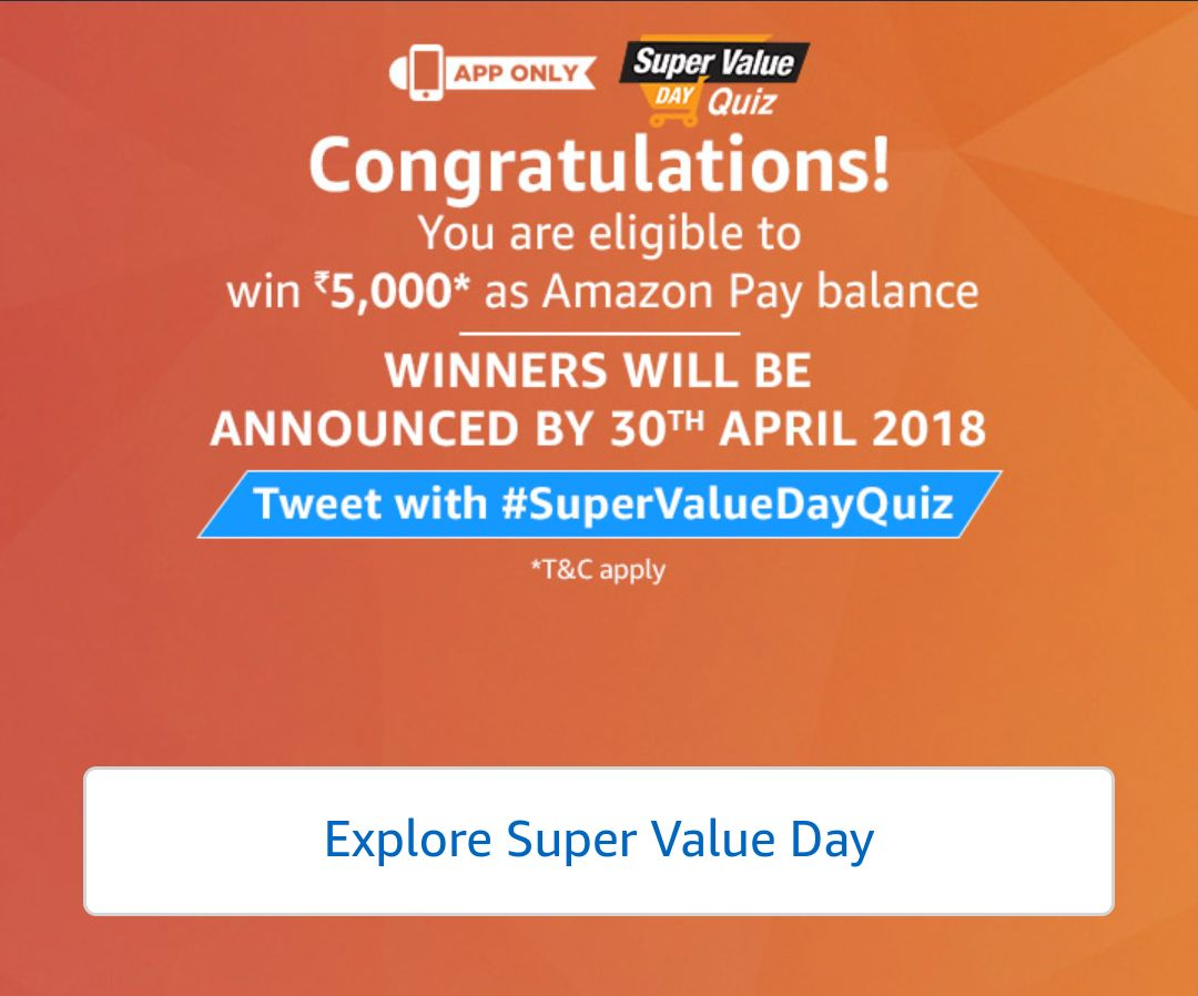 (All Answers)Amazon Super Value Day Quiz Answers - 1st March