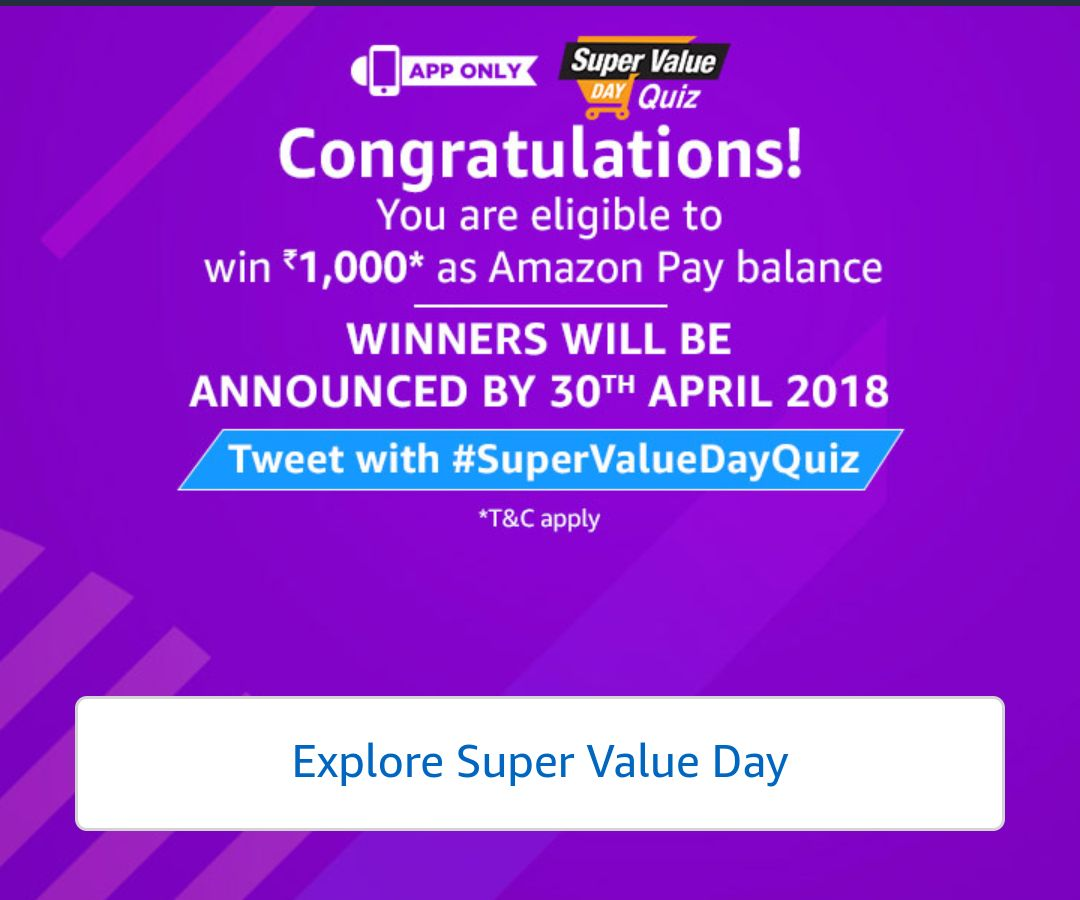 (2nd March) Amazon Super Value Day Quiz Answers