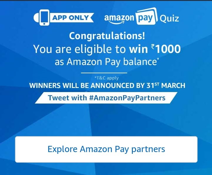 (Answers Added) Amazon Pay Quiz - Answer and Win Rs.1000