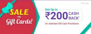 PhonePe e-Gift Card Offer - Get Rs.200 Cashback on Gift Vouchers