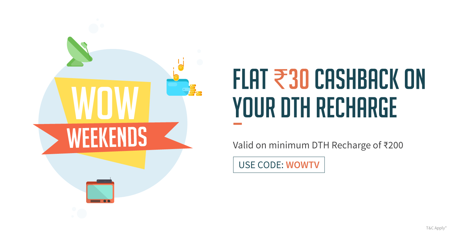 Freecharge DTH Offer - Get Rs.30 Cashback on Rs.200 DTH recharge