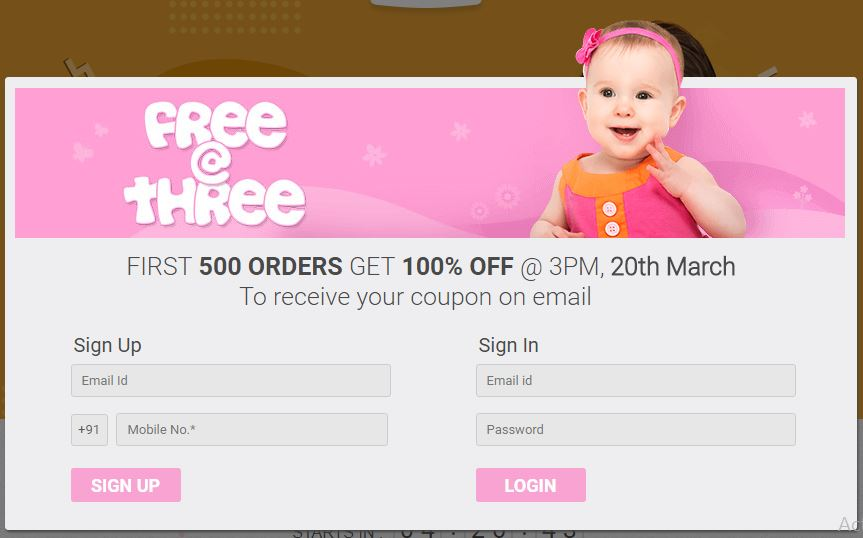 FirstCry Free @ Three Offer - Get 100% Off on First 500 Orders