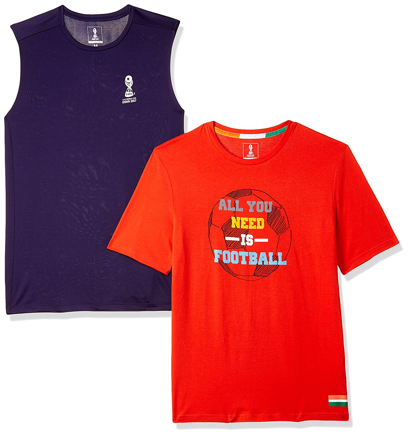 Buy FIFA Men's Printed Slim Fit T-Shirt (Pack of 2) At Rs.279 Only