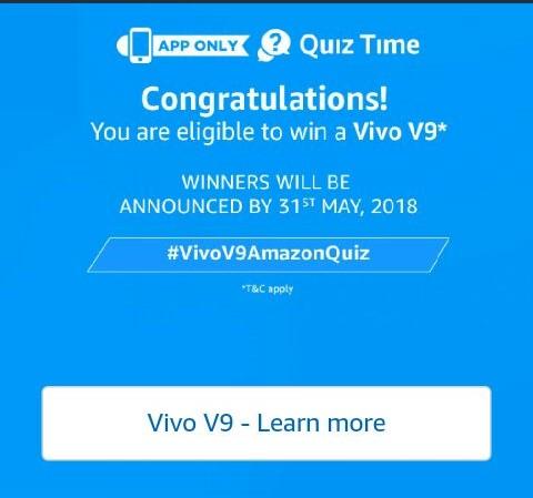 (Answers Added)Amazon Vivo Quiz - Answer & Win Vivo V9 Smartphone