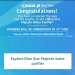 Amazon Quiz Time - Answer & Win Blue Star Water purifier