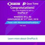 Amazon One Plus Quiz - Answer & Win One Plus 6 Smartphone