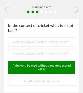 Amazon Cricket Quiz - Answer & Win Rs.20000
