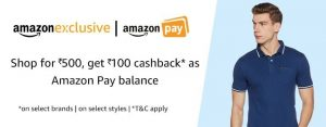 Amazon Exclusive Offer - Get Rs.100 Cashback in Rs.500 Order