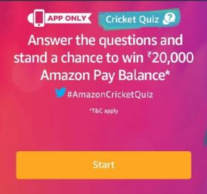 Amazon Cricket Quiz - Answer & Win Rs.20000