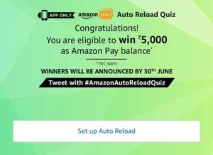 Amazon Auto Reload Quiz - Answer & Win Rs.5000