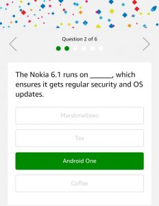 (All Answers)Amazon Nokia 6.1 Quiz Answers