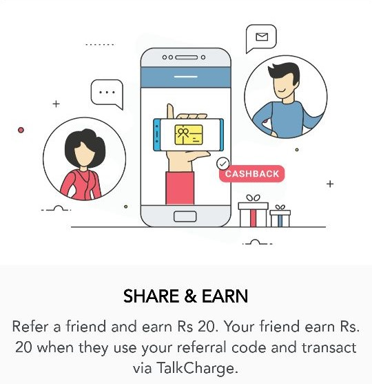TalkCharge App - Get Rs.20 Free Recharge and Rs.20 on Referring Friend