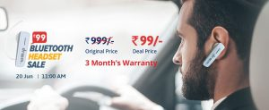 Droom Bluetooth Headset Flash Sale - Get Bluetooth Headset in Rs.99