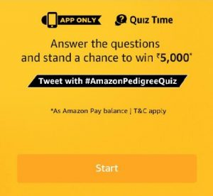 Amazon Pedigree Quiz - Answers & Win Rs.5000