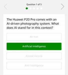 (All Answers)Amazon Huawei P20 Pro Quiz - Answer & Win Huawei P20 Pro