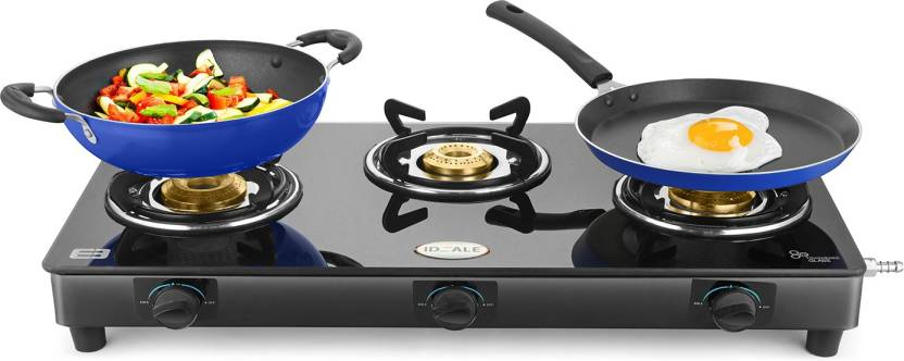 BuyIdeale Triox-KT Steel Manual Gas Stove (3 Burners) in just Rs Rs.1899 Worth Rs.7995