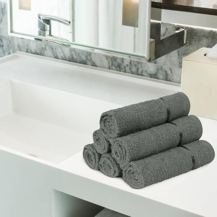 BuyStory@Home Cotton Face Towel Set (Pack of 6, Grey) in just Rs Rs.199 Worth Rs.499