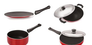 (*80% Off*)GetNirlon Non-Stick Aluminium Cookware Set, 6-Pieces, Red/Blackin Just Rs.853