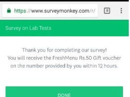 Free Rs.50 Freshmenu Gift Voucher on Completing Survey