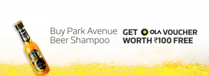 Get Rs.100 Free Ola Voucher on Purchasing Park Avenue Beer Shampoo