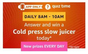 (All Answers)Amazon Usha Cold Press Slow Juicer Quiz Answers