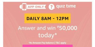 Amazon6th August Quiz - Answer & Win Rs.50000