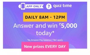 (3rd September)Amazon Quiz Time - Answer & Win Rs.5000